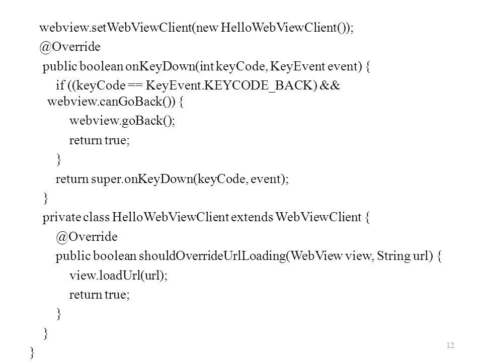 webview.setWebViewClient(new HelloWebViewClient()); @Override public boolean onKeyDown(int keyCode, KeyEvent event) { if ((keyCode == KeyEvent.KEYCODE