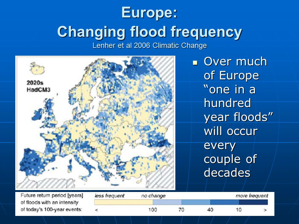 Europe: Changing flood frequency Lenher et al 2006 Climatic Change Over much of Europe one in a hundred year floods will occur every couple of decades Over much of Europe one in a hundred year floods will occur every couple of decades