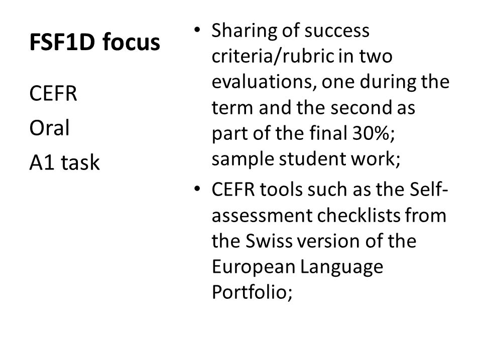 Trousse de validation These activities are not a part of the CEFR.