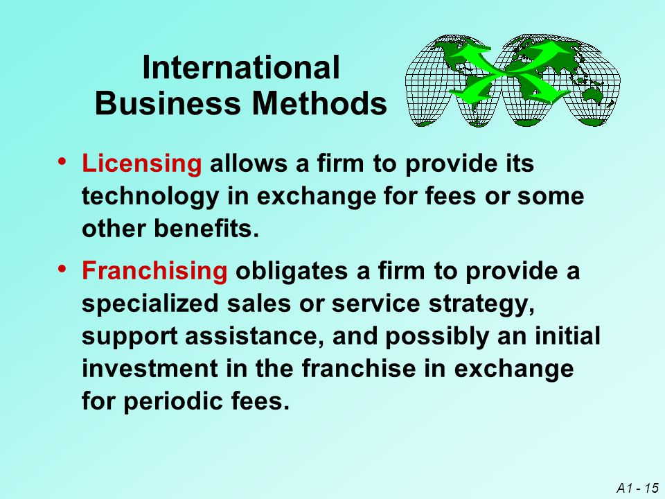 A1 - 15 International Business Methods Licensing allows a firm to provide its technology in exchange for fees or some other benefits. Franchising obli