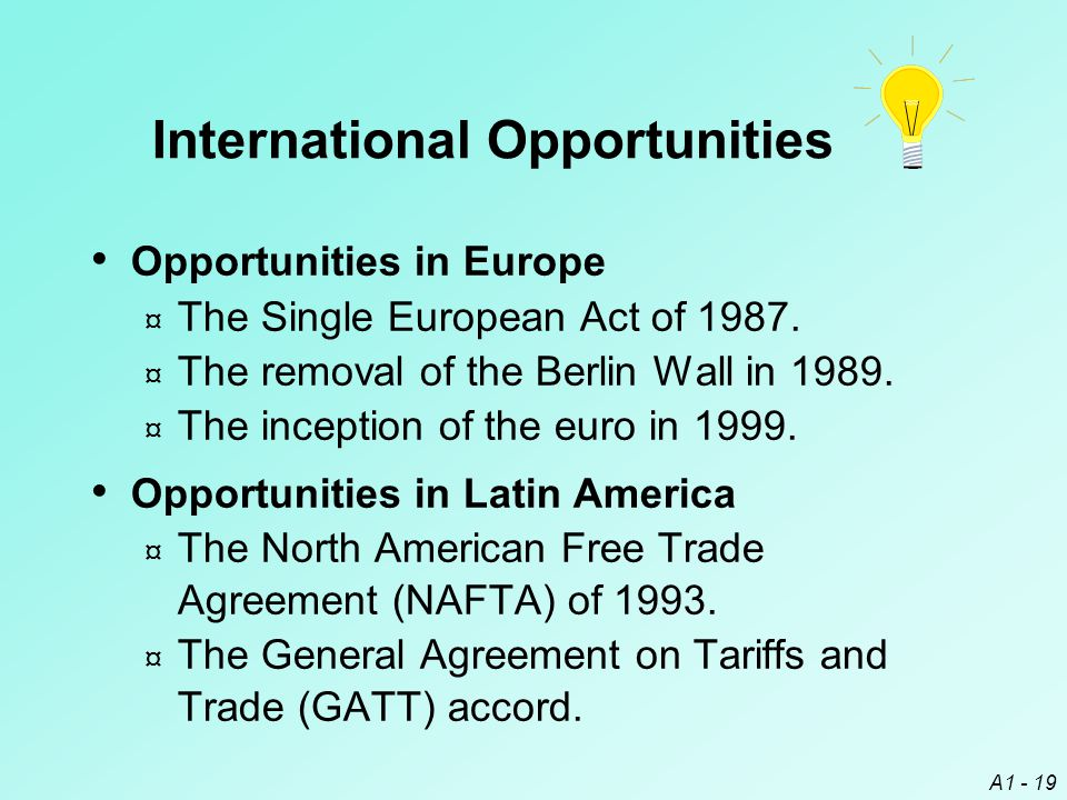 A1 - 19 International Opportunities Opportunities in Europe ¤ The Single European Act of 1987. ¤ The removal of the Berlin Wall in 1989. ¤ The incepti