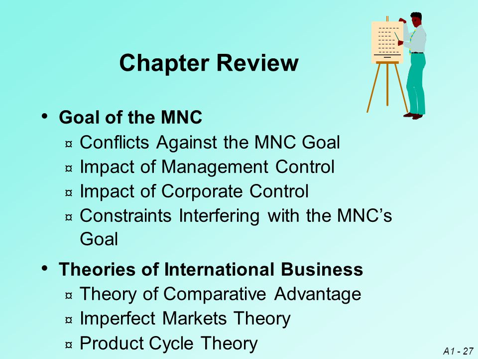 A1 - 27 Chapter Review Goal of the MNC ¤ Conflicts Against the MNC Goal ¤ Impact of Management Control ¤ Impact of Corporate Control ¤ Constraints Int