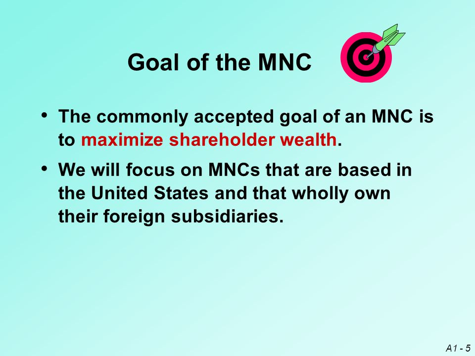 A1 - 6 Conflicts Against the MNC Goal For corporations with shareholders who differ from their managers, a conflict of goals can exist - the agency problem.