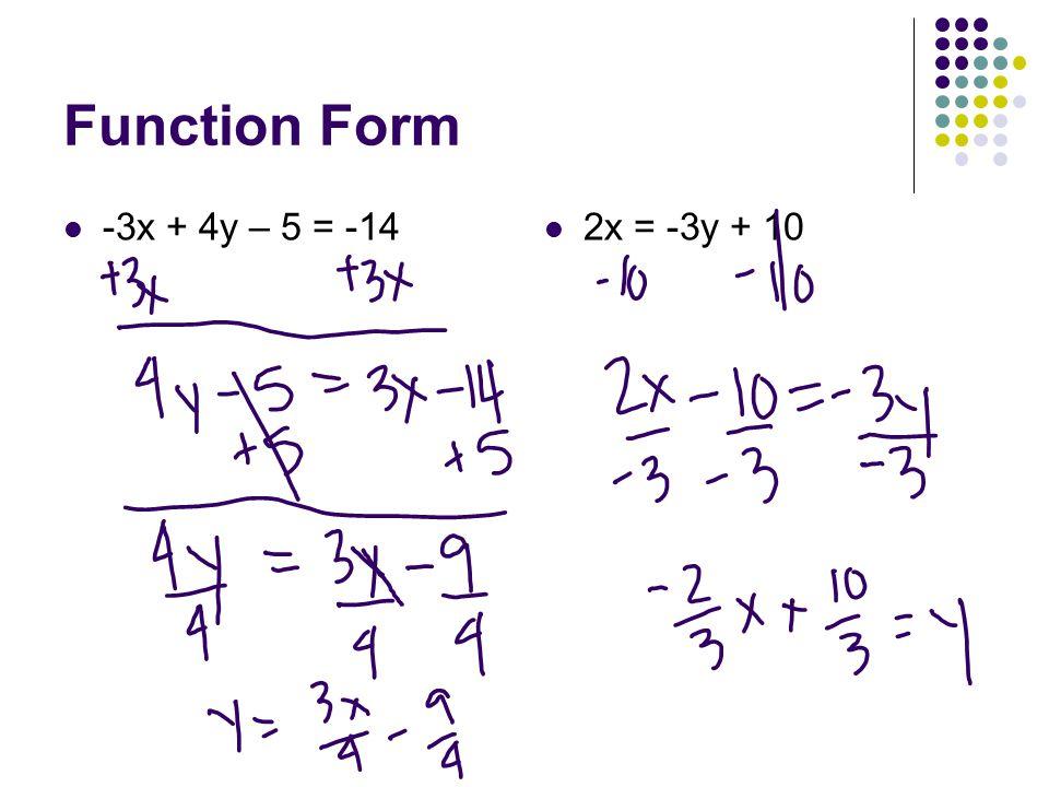 Function Form -3x + 4y – 5 = -14 2x = -3y + 10