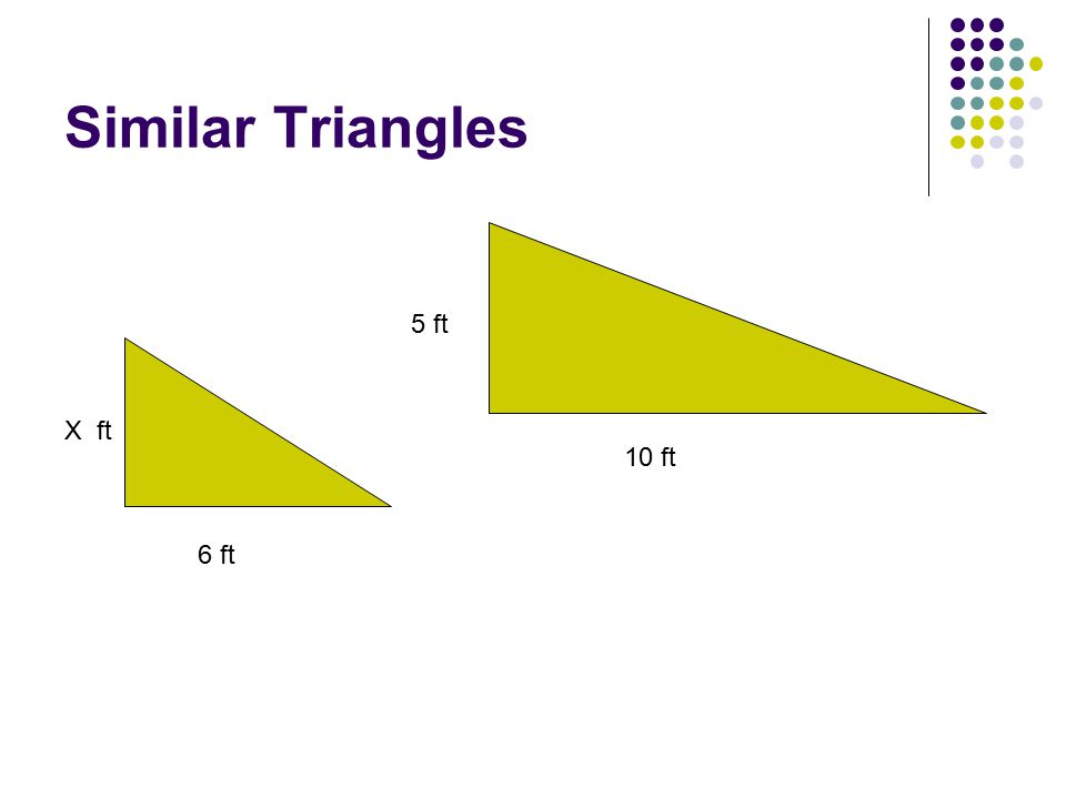 Similar Triangles 6 ft 10 ft 5 ft X ft