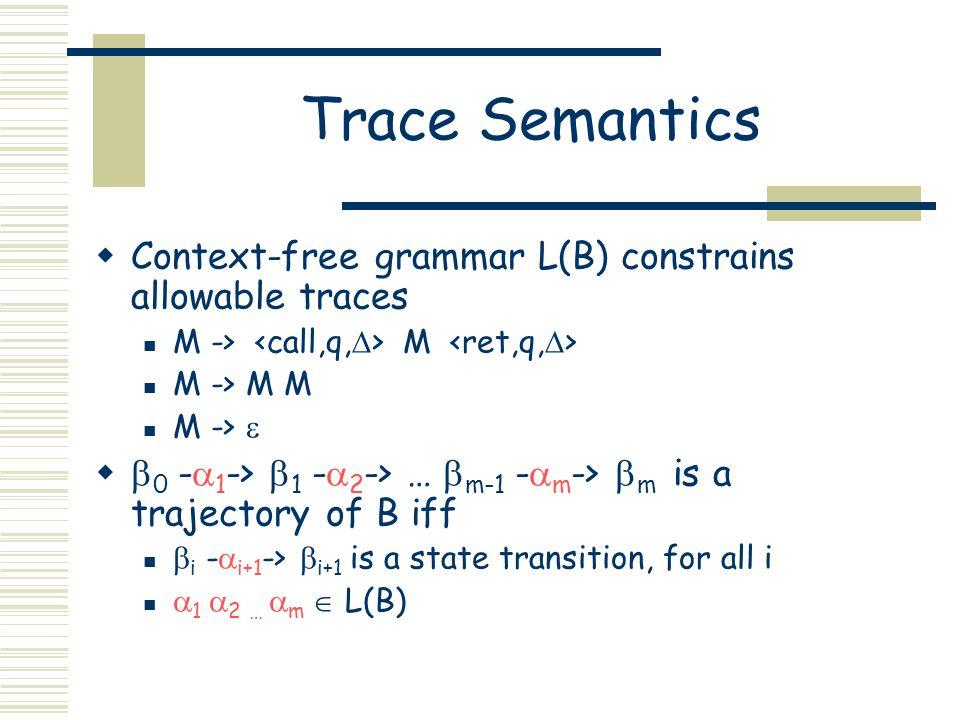 Trace Semantics  Context-free grammar L(B) constrains allowable traces M -> M M -> M M M ->    0 -  1 ->  1 -  2 -> …  m-1 -  m ->  m is a trajectory of B iff  i -  i+1 ->  i+1 is a state transition, for all i  1  2 …  m  L(B)