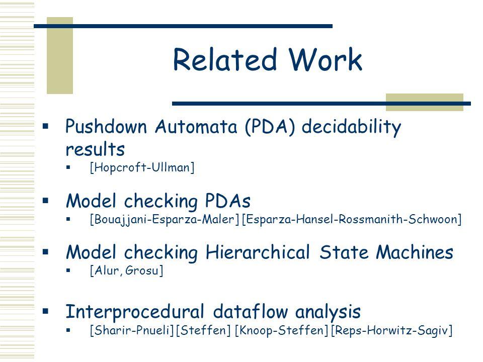 Related Work  Pushdown Automata (PDA) decidability results  [Hopcroft-Ullman]  Model checking PDAs  [Bouajjani-Esparza-Maler] [Esparza-Hansel-Rossmanith-Schwoon]  Model checking Hierarchical State Machines  [Alur, Grosu]  Interprocedural dataflow analysis  [Sharir-Pnueli] [Steffen] [Knoop-Steffen] [Reps-Horwitz-Sagiv]