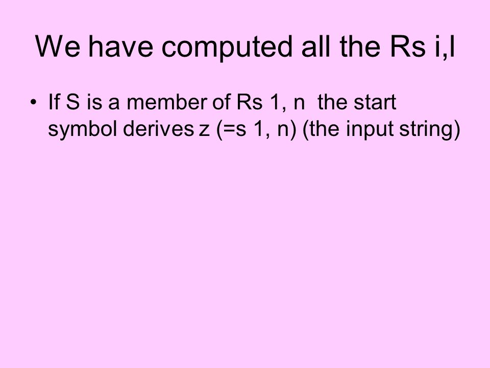 We have computed all the Rs i,l If S is a member of Rs 1, n the start symbol derives z (=s 1, n) (the input string)