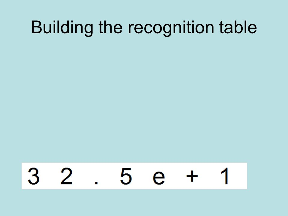 Building the recognition table