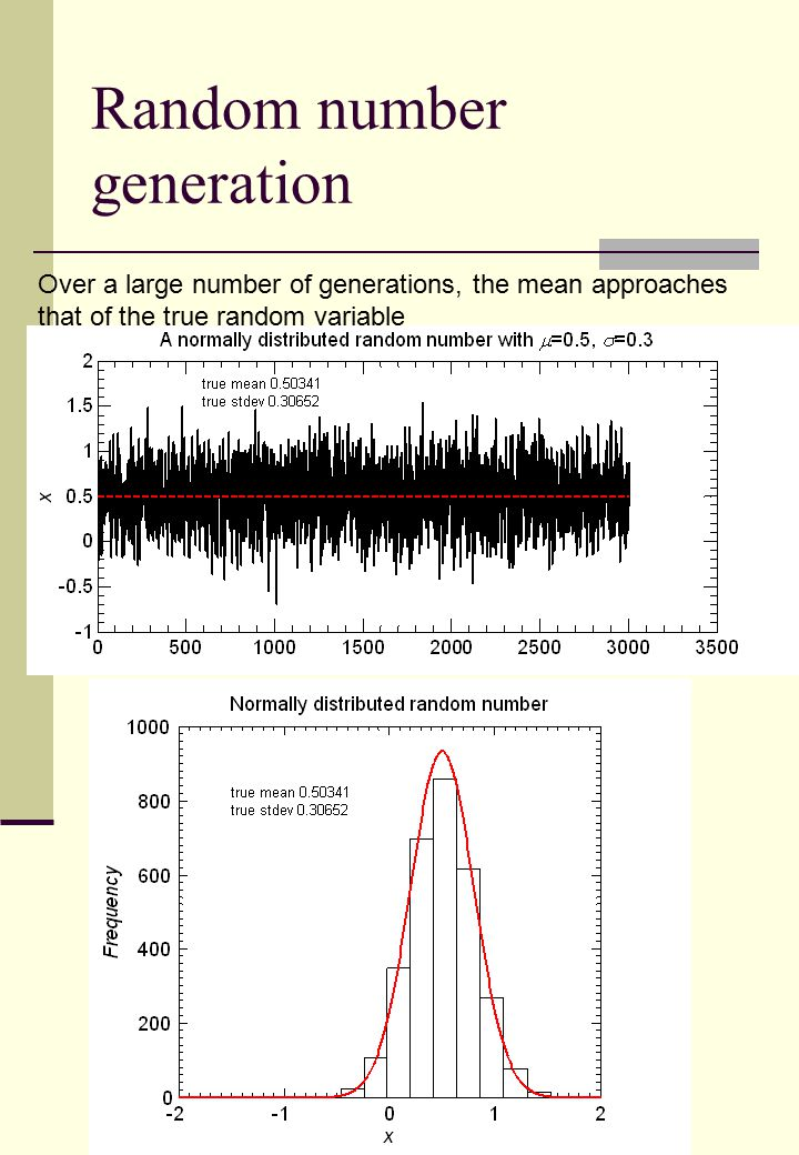 Random number generation Over a large number of generations, the mean approaches that of the true random variable