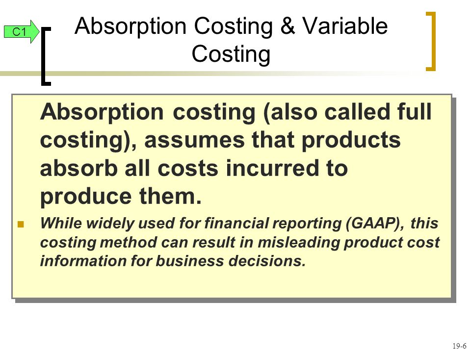 19-37 Limitations of Reports Using Variable Costing P3 Absorption costing is almost exclusively used for external reporting (GAAP).