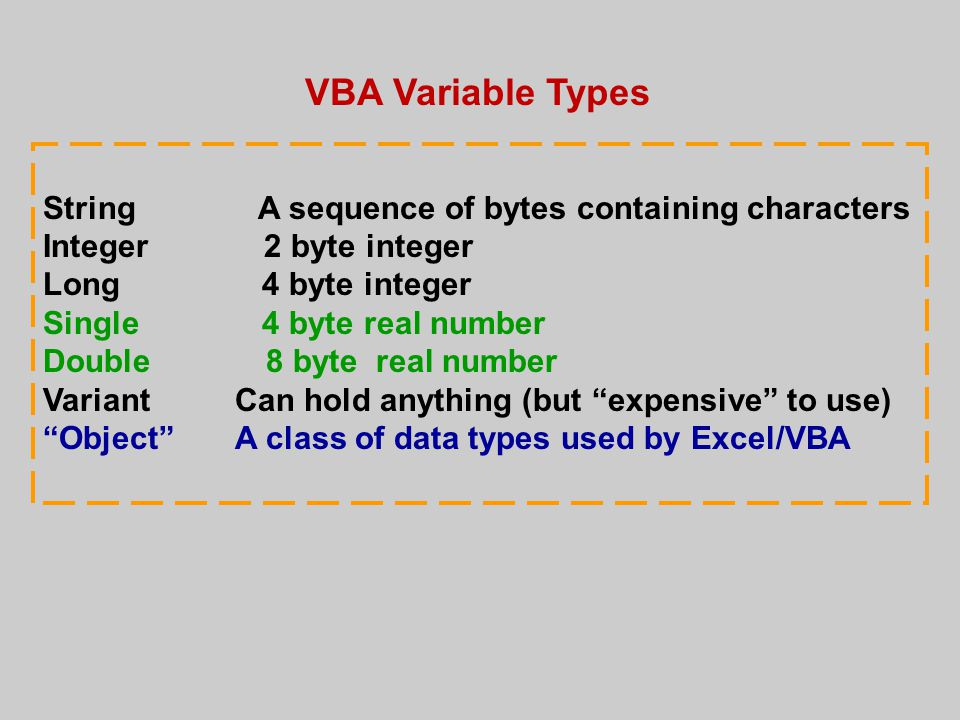 VBA Variable Types String A sequence of bytes containing characters Integer 2 byte integer Long 4 byte integer Single 4 byte real number Double 8 byte real number VariantCan hold anything (but expensive to use) Object A class of data types used by Excel/VBA