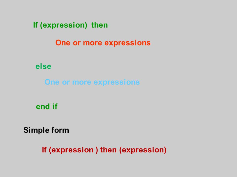 If (expression) then One or more expressions else One or more expressions end if If (expression ) then (expression) Simple form