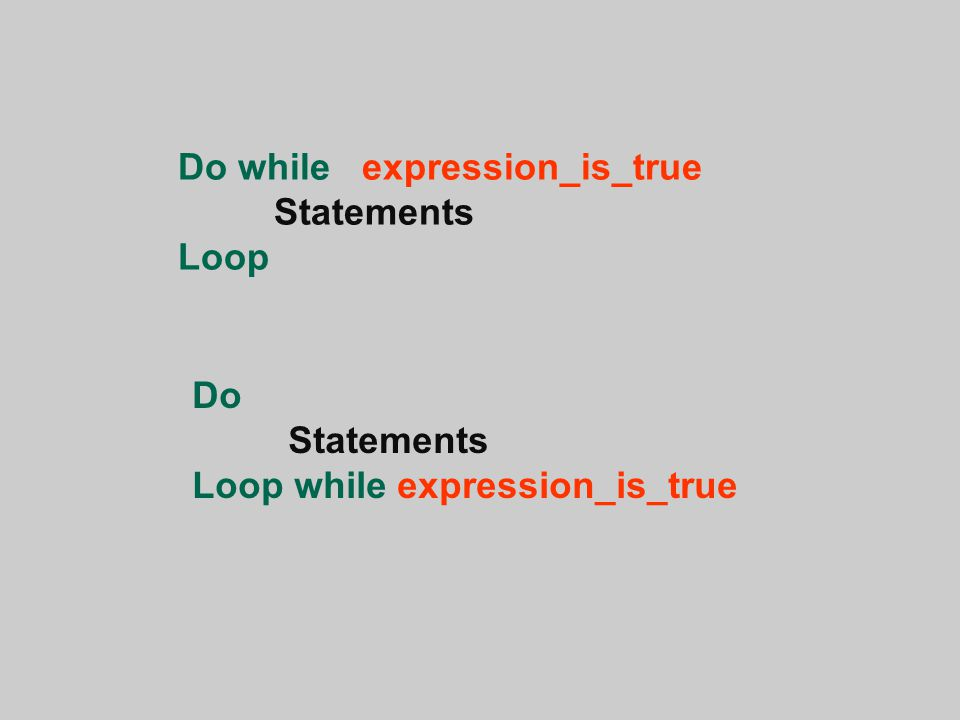 Do while expression_is_true Statements Loop Do Statements Loop while expression_is_true