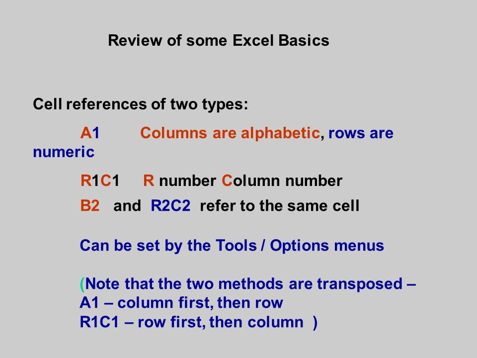 Review of some Excel Basics Cell references of two types: A1 Columns are alphabetic, rows are numeric R1C1 R number Column number B2 and R2C2 refer to the same cell Can be set by the Tools / Options menus (Note that the two methods are transposed – A1 – column first, then row R1C1 – row first, then column )