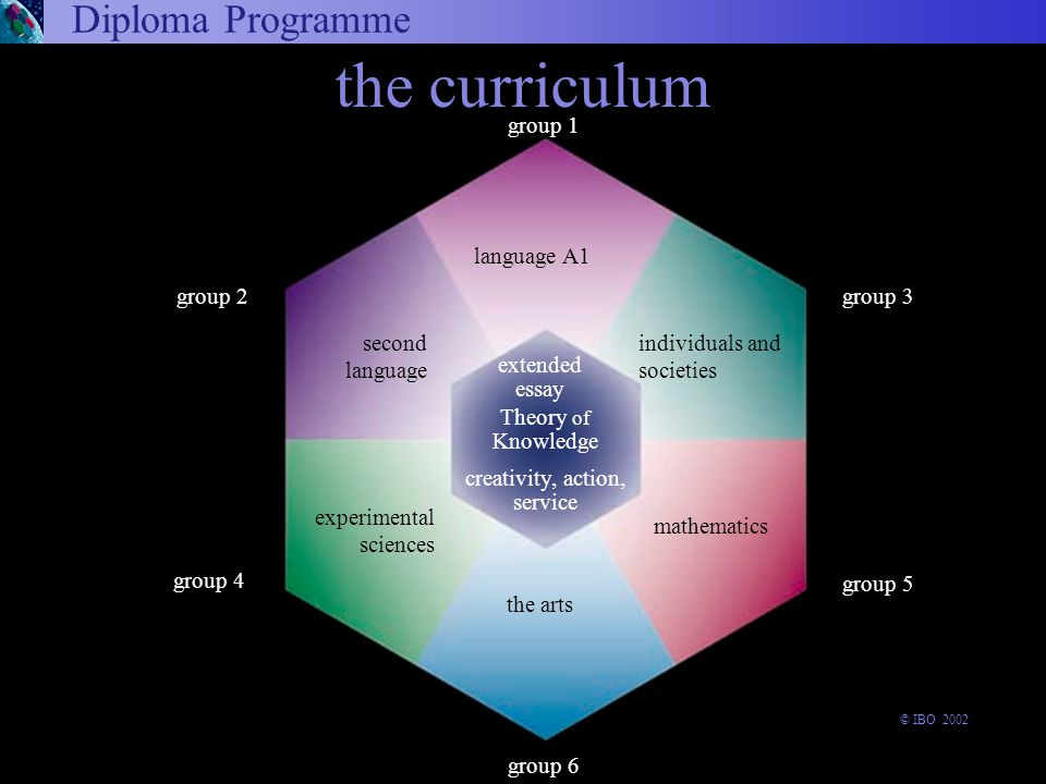 Diploma Programme the curriculum Theory of Knowledge the arts group 4 group 1 language A1 extended essay experimental sciences group 6 group 3 group 5 group 2 second language creativity, action, service individuals and societies mathematics © IBO 2002