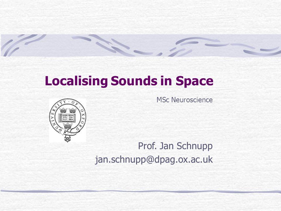 Localising Sounds in Space MSc Neuroscience Prof. Jan Schnupp jan.schnupp@dpag.ox.ac.uk MSc Neuroscience Prof. Jan Schnupp jan.schnupp@dpag.ox.ac.uk