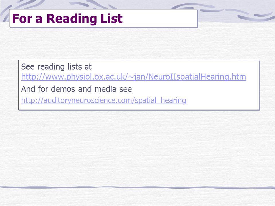 See reading lists at http://www.physiol.ox.ac.uk/~jan/NeuroIIspatialHearing.htm http://www.physiol.ox.ac.uk/~jan/NeuroIIspatialHearing.htm And for dem