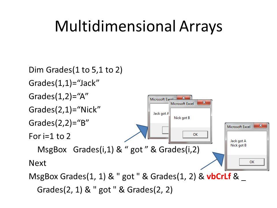 Multidimensional Arrays Dim Grades(1 to 5,1 to 2) Grades(1,1)= Jack Grades(1,2)= A Grades(2,1)= Nick Grades(2,2)= B For i=1 to 2 MsgBox Grades(i,1) & got & Grades(i,2) Next MsgBox Grades(1, 1) & got & Grades(1, 2) & vbCrLf & _ Grades(2, 1) & got & Grades(2, 2)