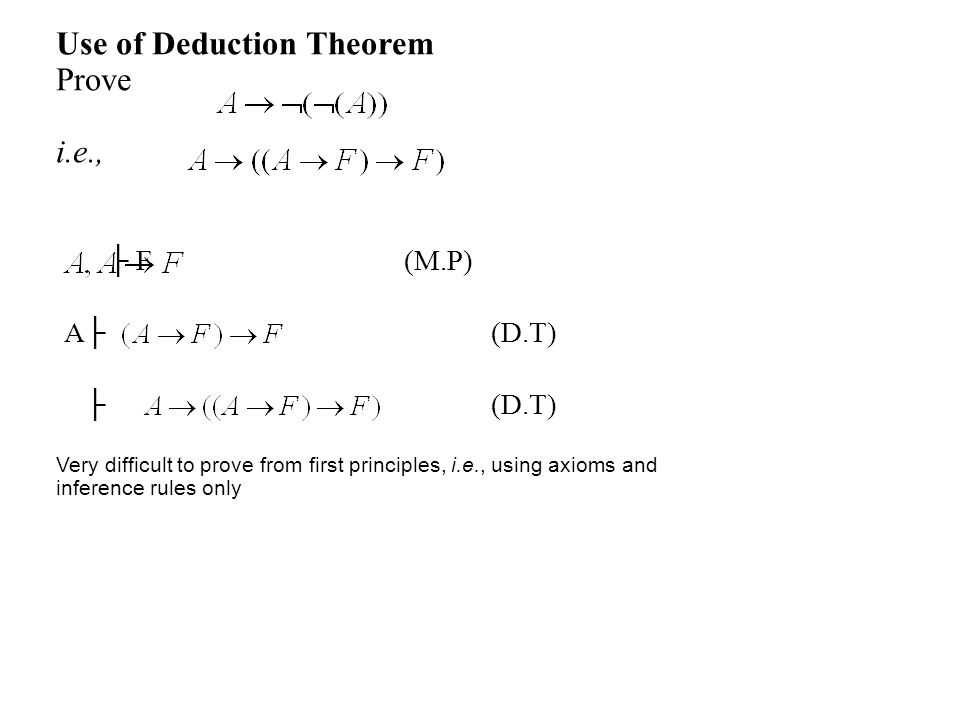 Use of Deduction Theorem Prove i.e., ├ F (M.P) A├ (D.T) ├ (D.T) Very difficult to prove from first principles, i.e., using axioms and inference rules only