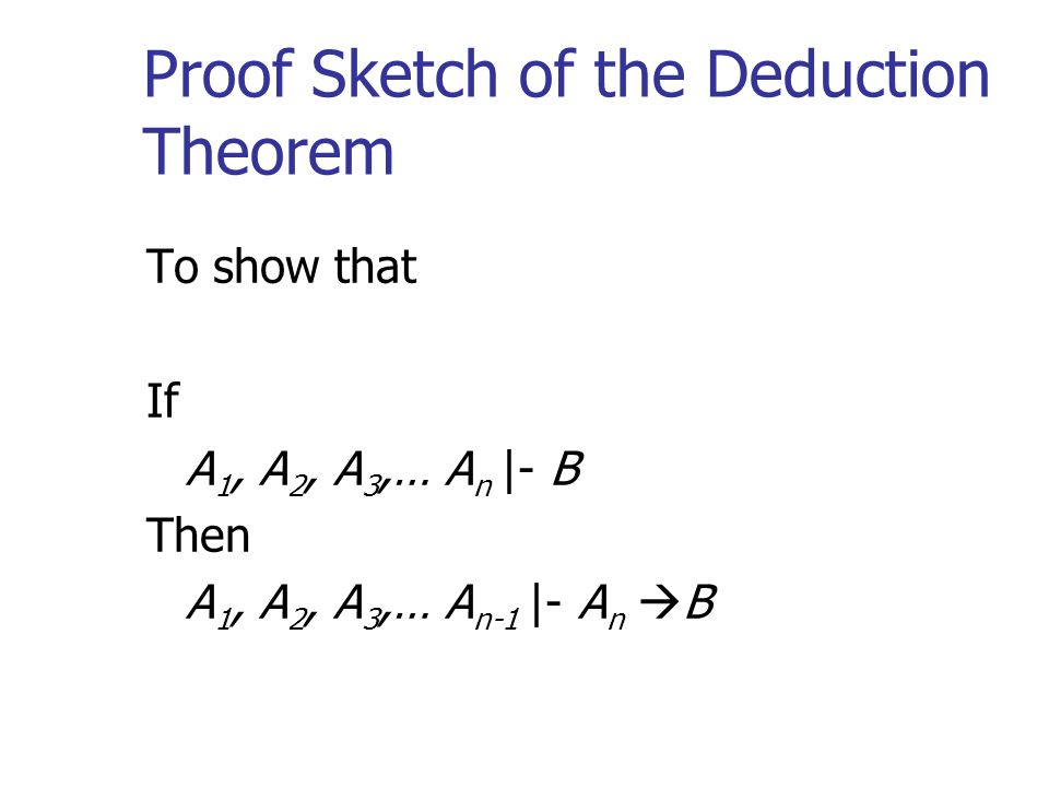 Proof Sketch of the Deduction Theorem To show that If A 1, A 2, A 3,… A n |- B Then A 1, A 2, A 3,… A n-1 |- A n  B