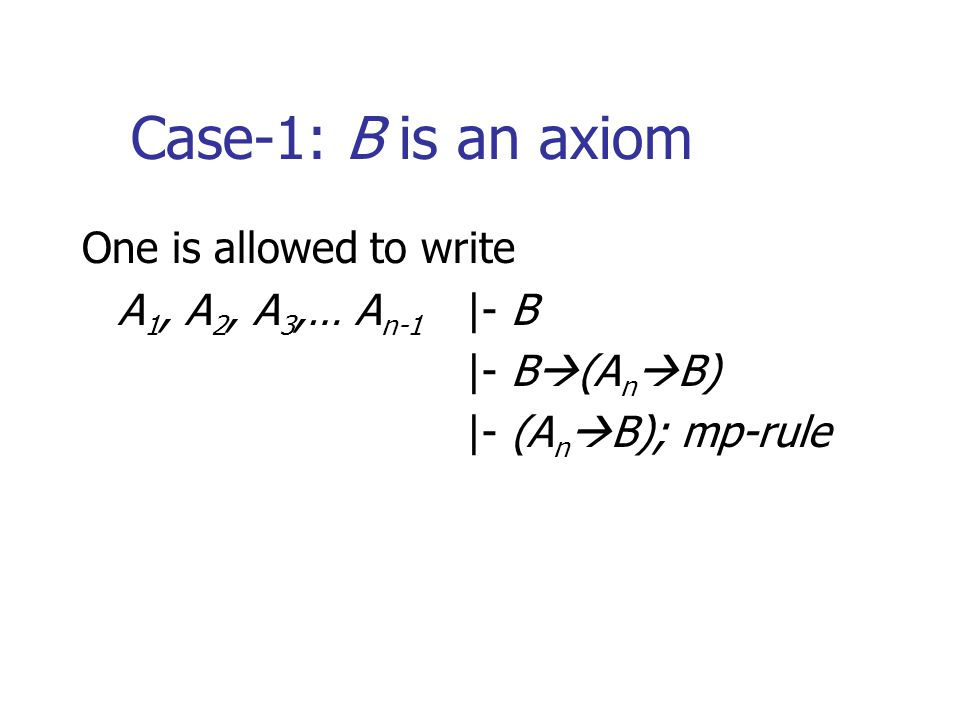 Case-1: B is an axiom One is allowed to write A 1, A 2, A 3,… A n-1 |- B |- B  (A n  B) |- (A n  B); mp-rule