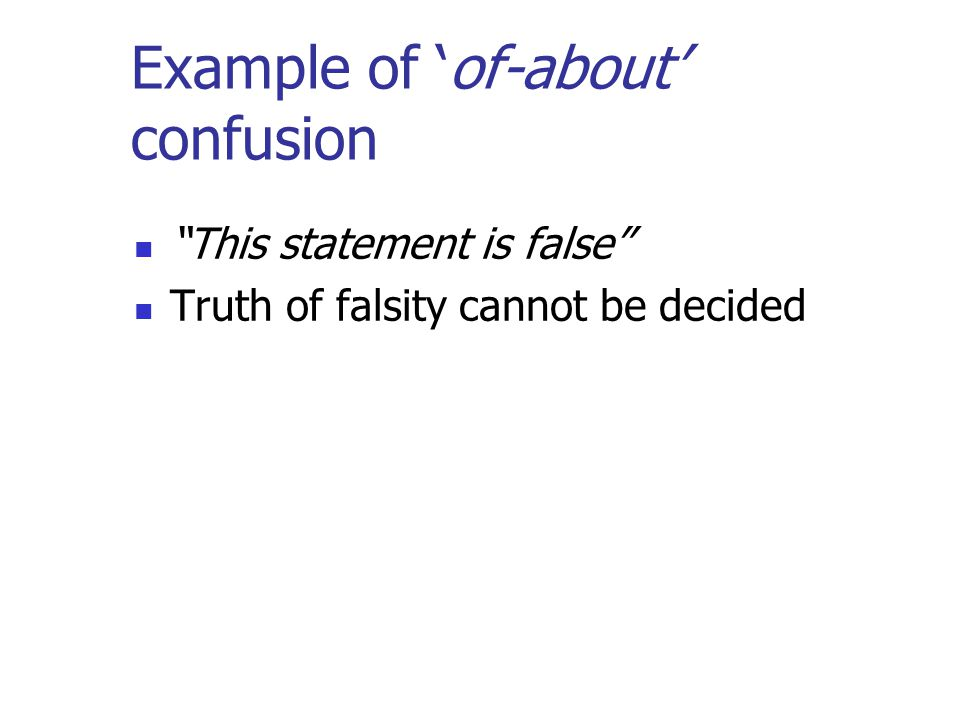 Example of 'of-about' confusion This statement is false Truth of falsity cannot be decided