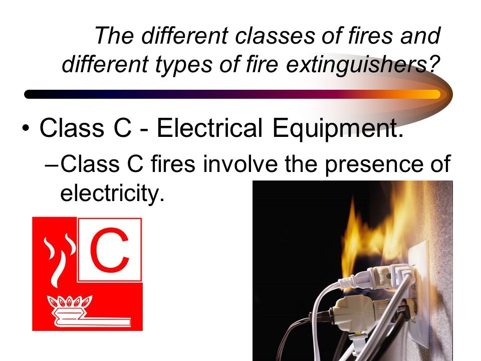 The different classes of fires and different types of fire extinguishers.