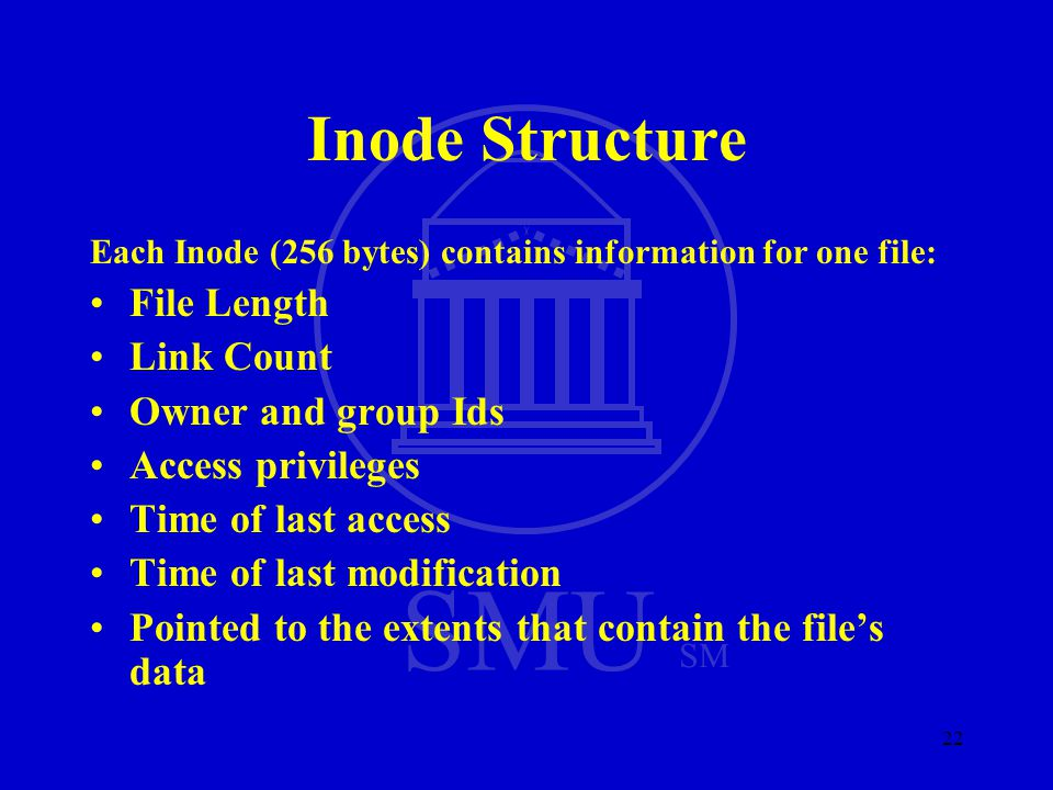 SMU SM 22 Inode Structure Each Inode (256 bytes) contains information for one file: File Length Link Count Owner and group Ids Access privileges Time