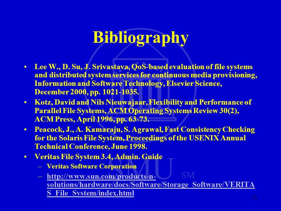 SMU SM 24 Bibliography Lee W., D. Su, J.