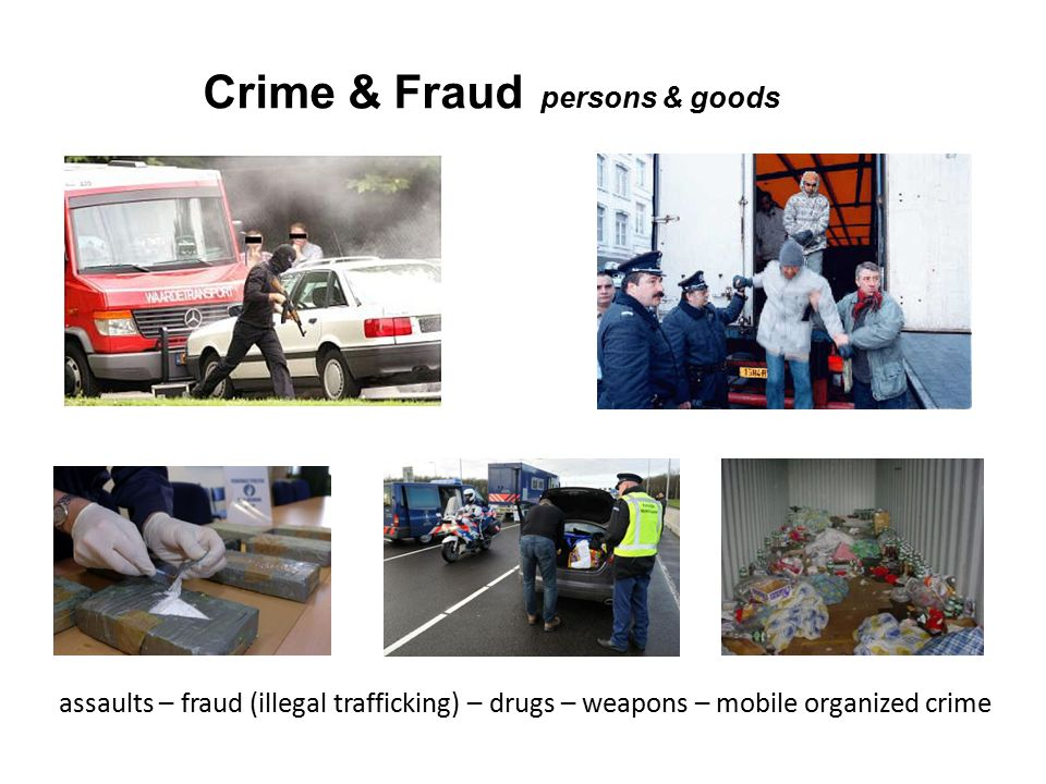 Crime & Fraud persons & goods assaults – fraud (illegal trafficking) – drugs – weapons – mobile organized crime