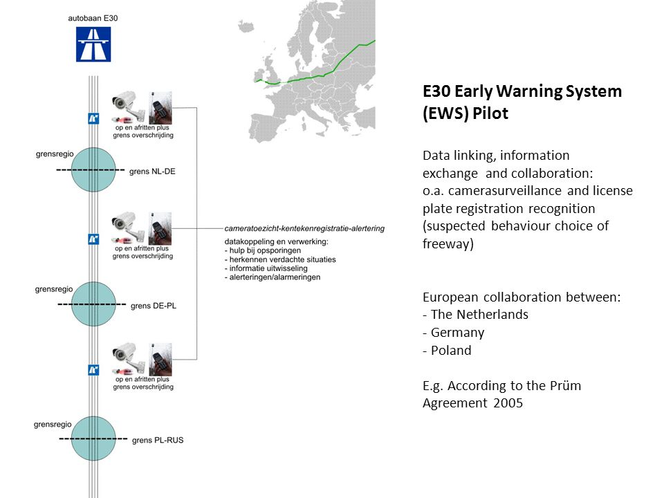 E30 Early Warning System (EWS) Pilot Data linking, information exchange and collaboration: o.a.