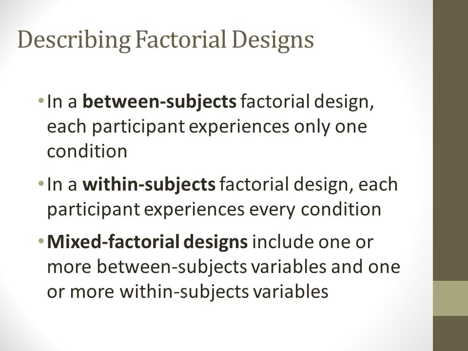 "Factorial designs include two or more independent variables What does it mean for a design to be ""crossed""?"