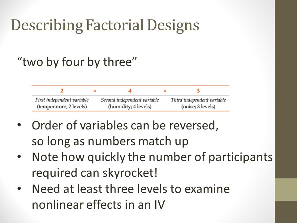 Describing Factorial Designs In a between-subjects factorial design, each participant experiences only one condition In a within-subjects factorial de