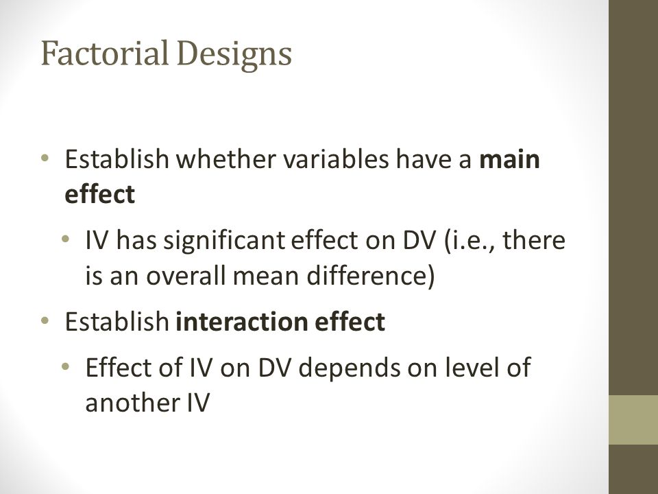 Three IVs Four possible interactions Three two-way interactions (A x B, A x C, B x C) One three-way interaction (A x B x C)
