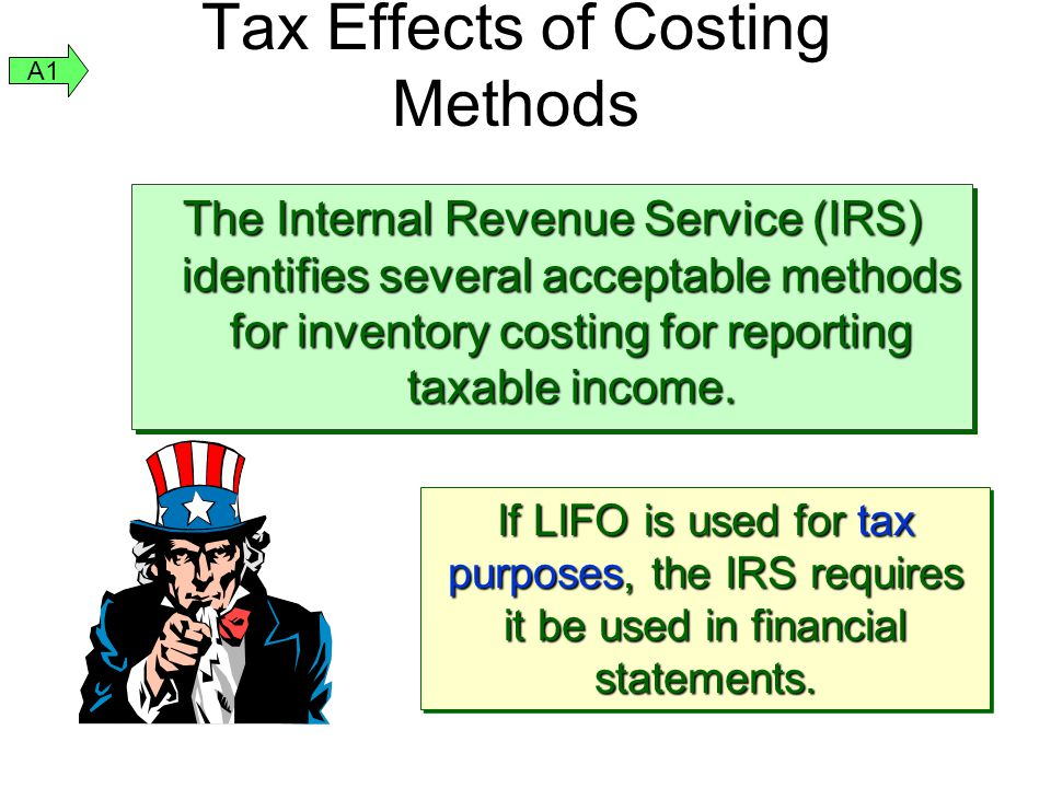 Tax Effects of Costing Methods The Internal Revenue Service (IRS) identifies several acceptable methods for inventory costing for reporting taxable in