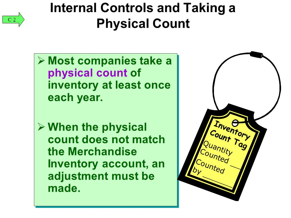 Internal Controls and Taking a Physical Count  Most companies take a physical count of inventory at least once each year.  When the physical count d