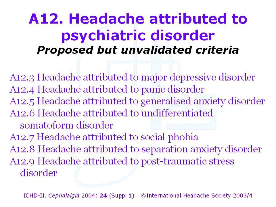 A12. Headache attributed to psychiatric disorder Proposed but unvalidated criteria