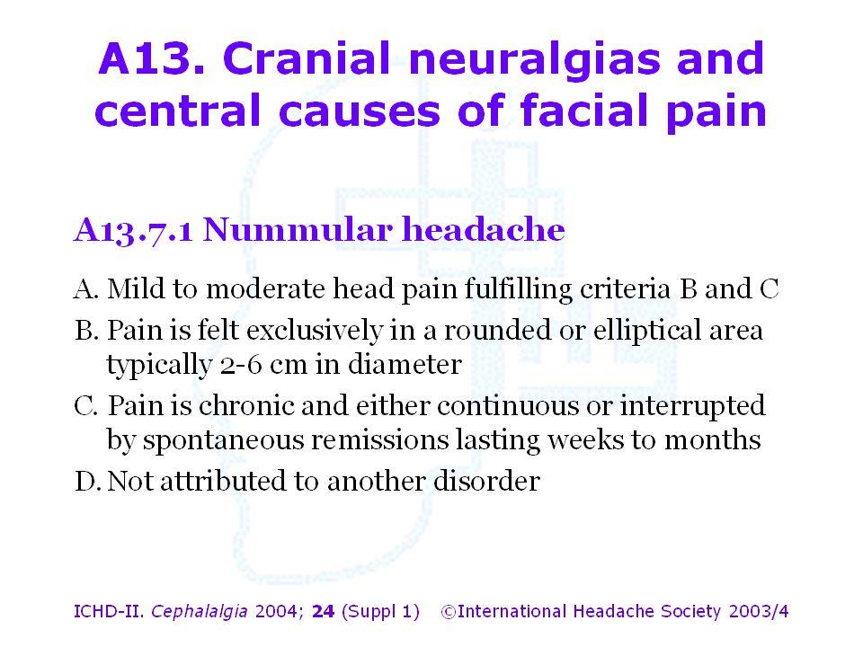 A13. Cranial neuralgias and central causes of facial pain