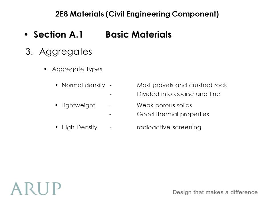 2E8 Materials (Civil Engineering Component) Section A.1Basic Materials Sieve Analysis 3.Aggregates