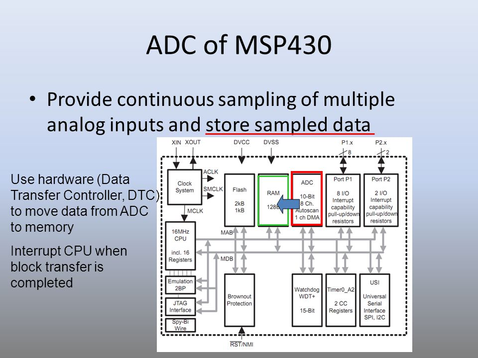 16 Sample Code 1 for ADC10 // ADC10 interrupt service routine #pragma vector=ADC10_VECTOR __interrupt void ADC10_ISR(void) { __bic_SR_register_on_exit(CPUOFF); // Clear CPUOFF bit from 0(SR) }