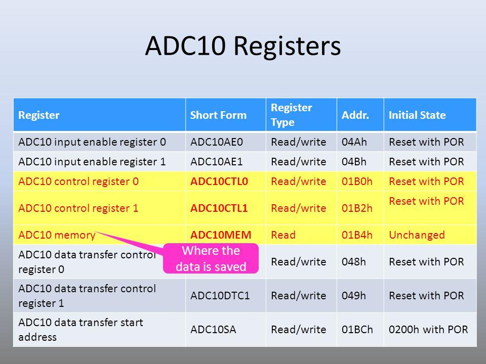 20 Sample Code 2 for ADC10 // ADC10 interrupt service routine #pragma vector=ADC10_VECTOR __interrupt void ADC10_ISR(void){ if (ADC10MEM 0.5V.