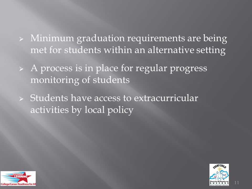  Minimum graduation requirements are being met for students within an alternative setting  A process is in place for regular progress monitoring of students  Students have access to extracurricular activities by local policy 11