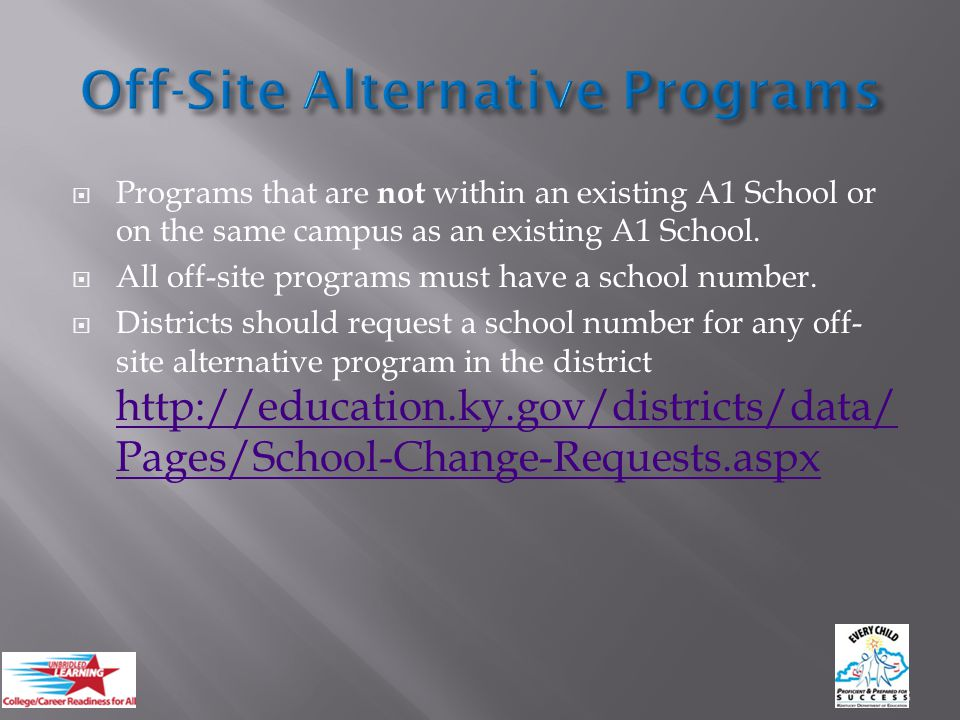  Programs that are not within an existing A1 School or on the same campus as an existing A1 School.