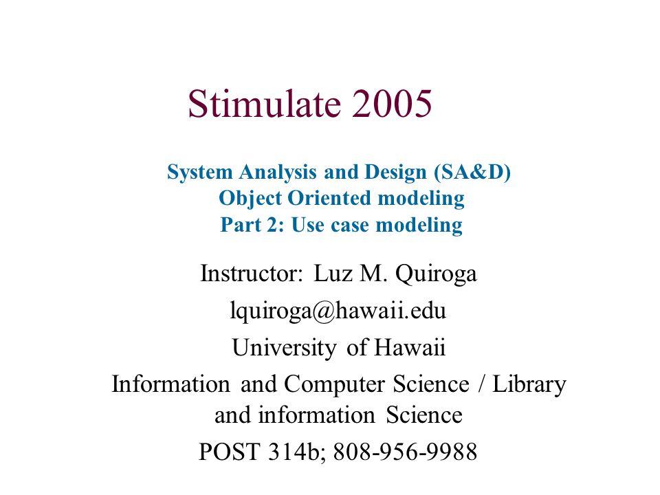 Object Orientation Application to system analysis (Osborne, Sinha)