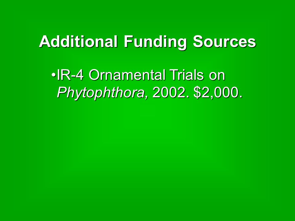 Additional Funding Sources IR-4 Ornamental Trials on Phytophthora, 2002.