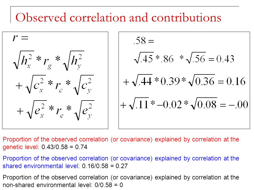 TC 19 - Boulder 2006 Observed correlation and contributions Proportion of the observed correlation (or covariance) explained by correlation at the gen