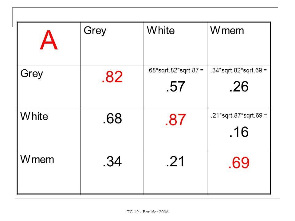 TC 19 - Boulder 2006 A GreyWhiteWmem Grey.82.68*sqrt.82*sqrt.87 =.57.34*sqrt.82*sqrt.69 =.26 White.68.87.