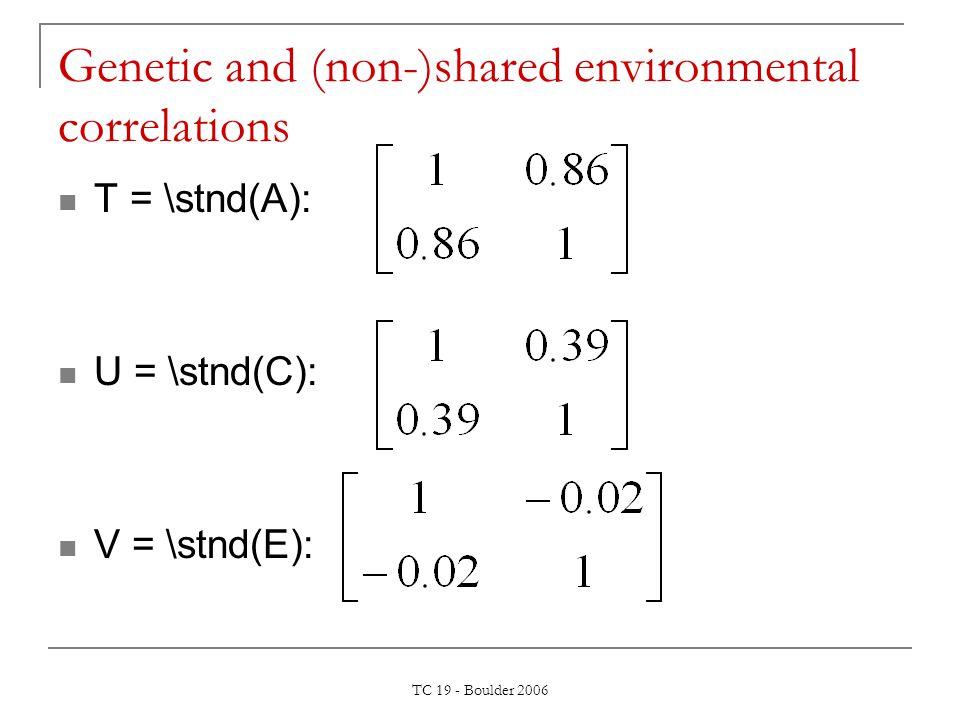 TC 19 - Boulder 2006 Genetic and (non-)shared environmental correlations T = \stnd(A): U = \stnd(C): V = \stnd(E):