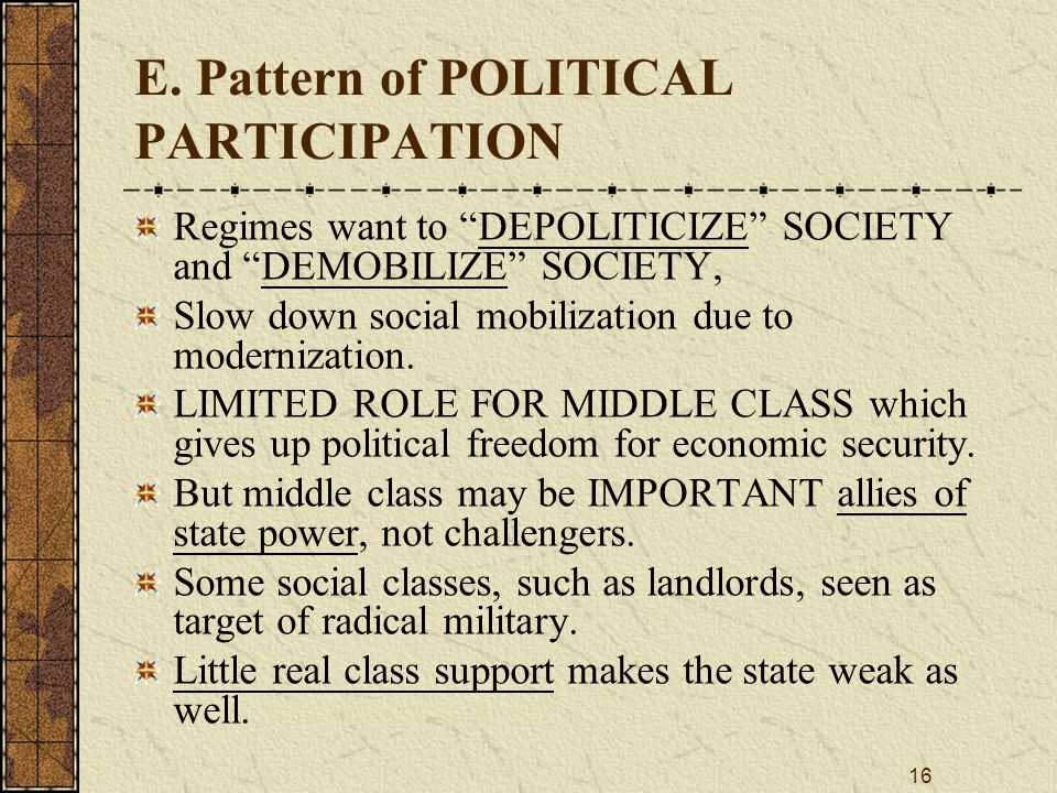 """16 E. Pattern of POLITICAL PARTICIPATION Regimes want to """"DEPOLITICIZE"""" SOCIETY and """"DEMOBILIZE"""" SOCIETY, Slow down social mobilization due to moderni"""